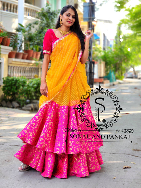 Ready To Drape Organza Leheriya Saree- SA00543