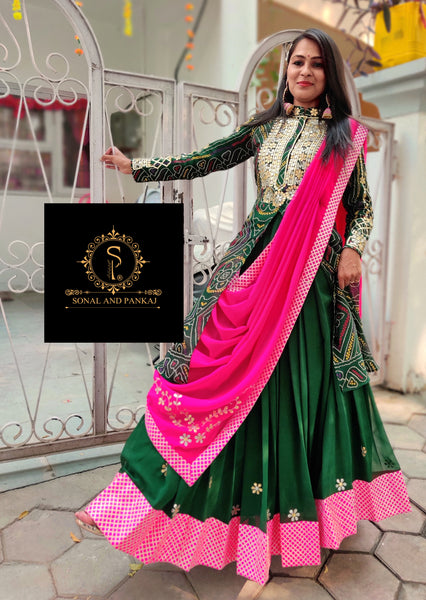 Bottle Green Bandhej Kurti With Lehenga & Duppatta- KL00544