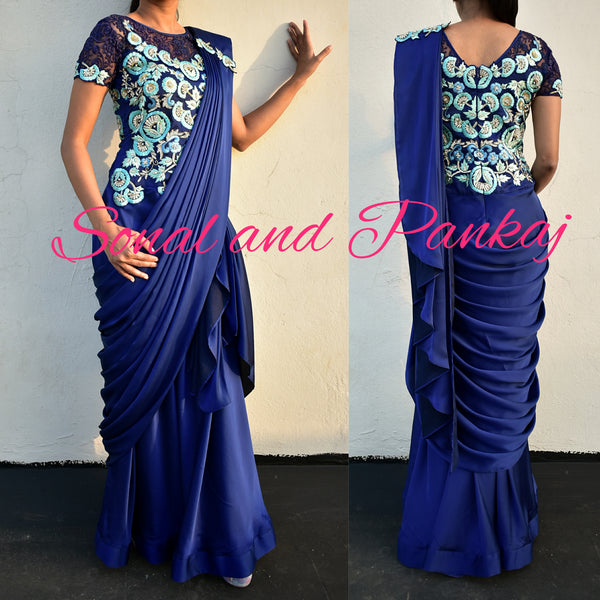 Classy Midnight Blue Drape Gown Saree - GN00233