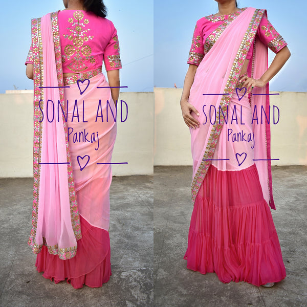 Baby Pink & Rani Pink Hand Embroidered Gotta Patti Border Saree- SA00237