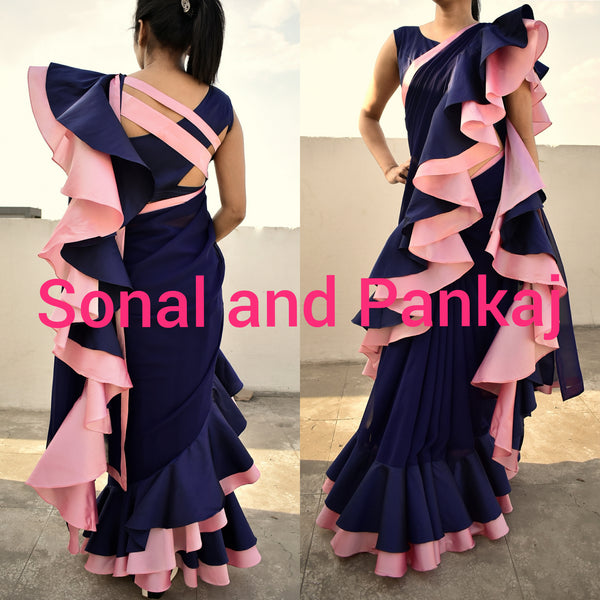 Navy Blue & Peach Ruffle Saree - SA00239