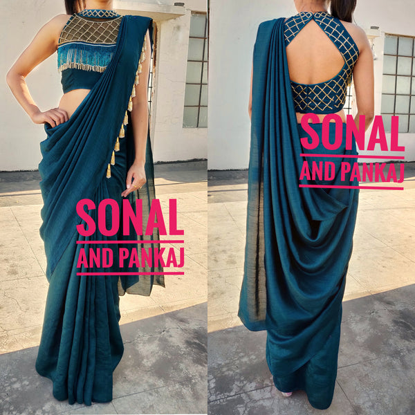 Peacock Green Cocktail Saree With Uber Stylish Blouse - SA00248