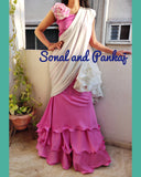 Ready To Wear Off White & Rose Pink Ruffle Saree - SA00291