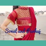 Red Cocktail Saree With Uber Stylish Blouse - SA00290