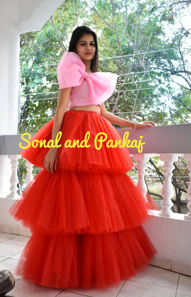 Three Layers 🍅 Red Tule Skirt With Baby Pink Blouse - IW00386