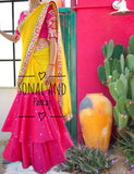 Rani Pink & Marigold Hand Embroidered Gotta Patti Border Saree- SA00215