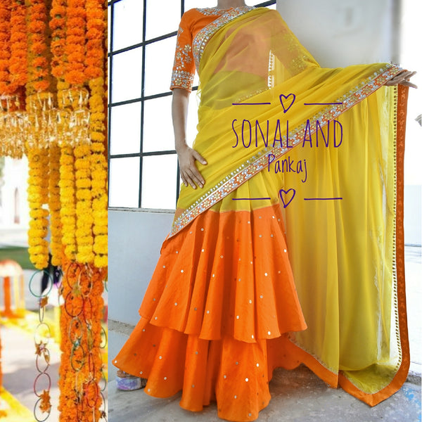 Ready To Wear Orange & Yellow Hand Embroidered Gotta Patti Border Saree- SA00224