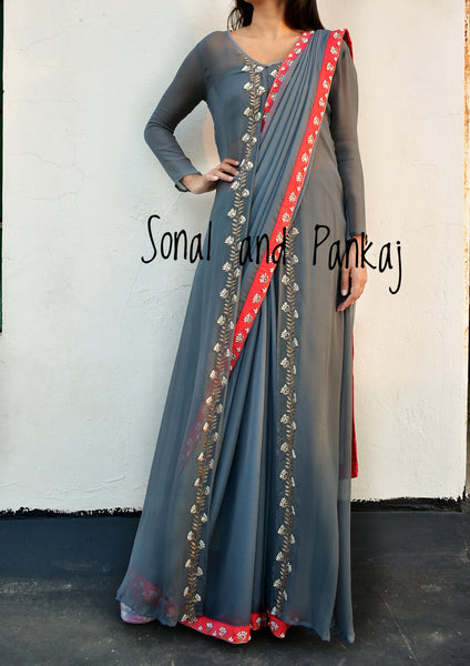Grey Hand Work Saree With Designer Jacket - SA00231