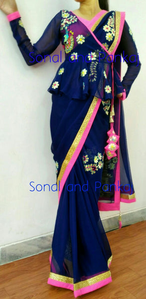 Gorgeous Midnight Blue Gotta Patti Saree With Peplum Style Blouse - SA00033