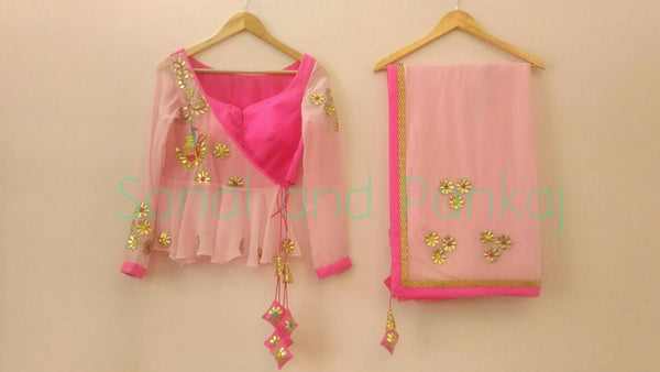 Gorgeous Baby Pink Gotta Patti Saree With Peplum Style Blouse - SA00023