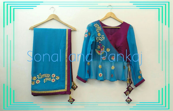 Gorgeous Blue Gotta Patti Saree With Peplum Style Blouse - SA00035