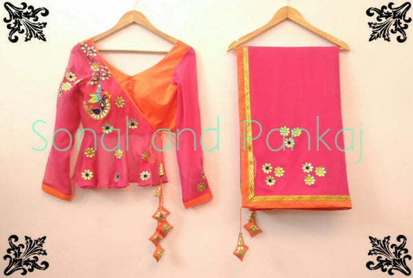 Rani Pink & Orange Gotta Patti Saree With Peplum Style Blouse - SA00058
