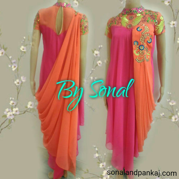 Pink And Peach Drape Kurti - SALE012