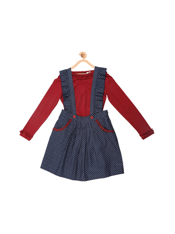Ruffled Suspender Skirt And Red Top Set