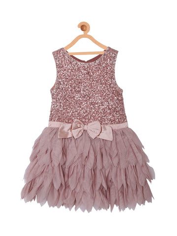 Girls Party Dress With Petals Skirt