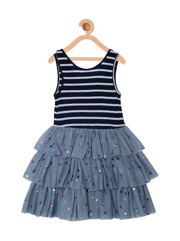 Girls Navy Striped Knee Length Party Dress