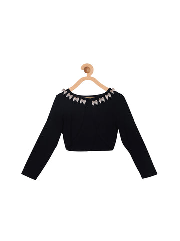 Black Cotton Jersey Party Shrug