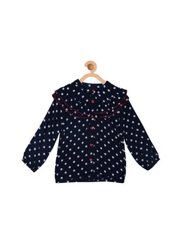 Navy Polka Dotted Ruffled Top