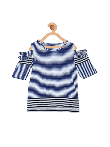 Navy Elbow Length Sleeves Cold Shoulder Striped Top