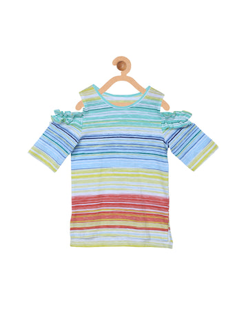 Multicolor Cold Shoulder Stripe Top