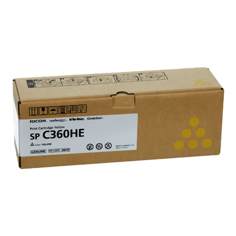 Cartouche de toner d'origine Ricoh SP C360 HE jaune - 408187 - OfficePartner.fr