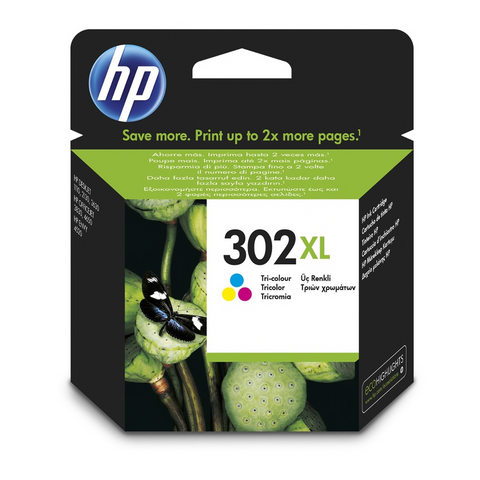 Cartouche d'encre 3 couelurs d'origine HP 302XL - F6U67AE - officepartner.fr