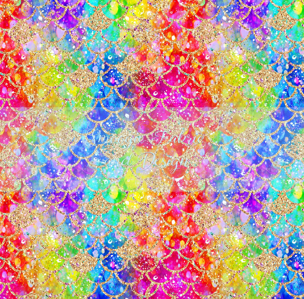 Rainbow Glitz Scales - Cotton Canvas