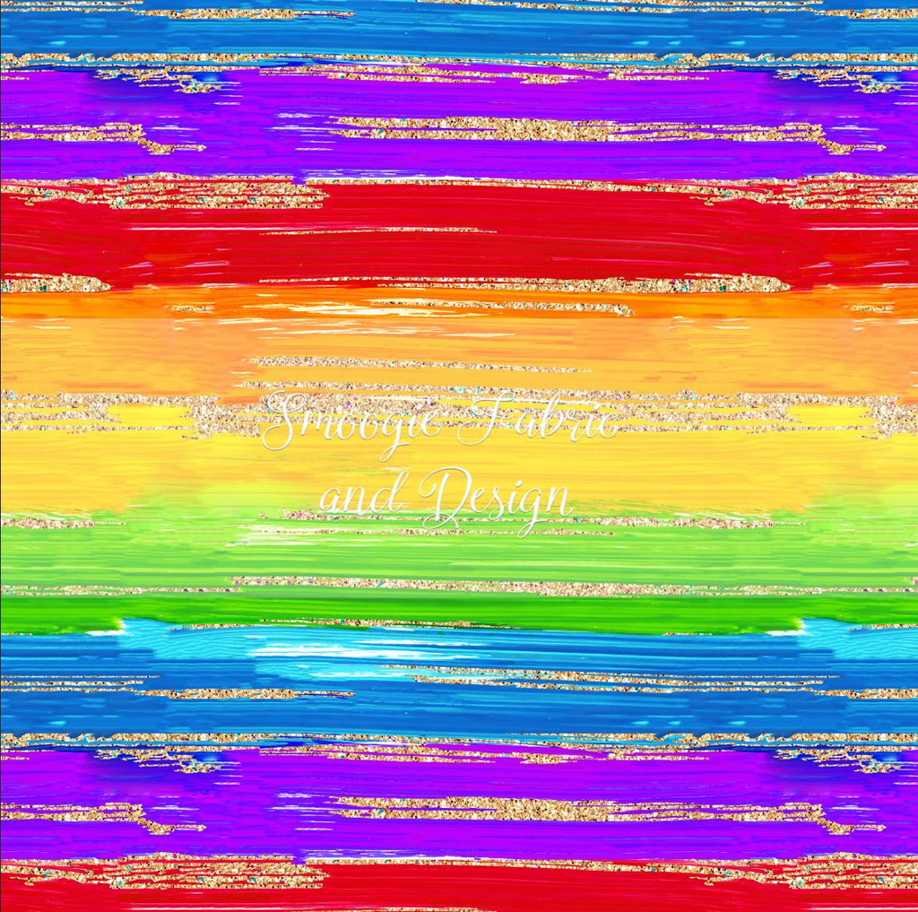 Rainbow Glitter Stripes - Cotton Woven