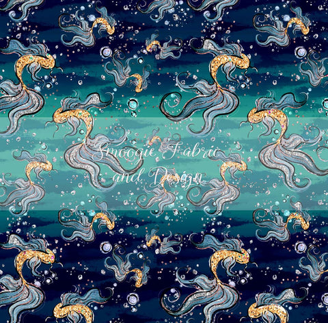 Deep Blue Fishies - Cotton Lycra