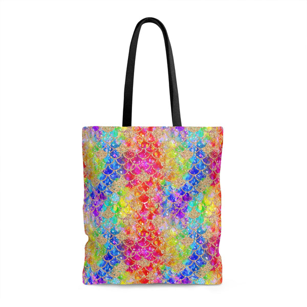 Rainbow Glitter Scales Tote Bag