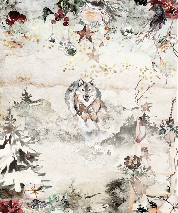 Winter Wolf Panels - Cotton Canvas
