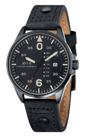 'Hawker Harrier II' Leather Strap Watch, 45mm