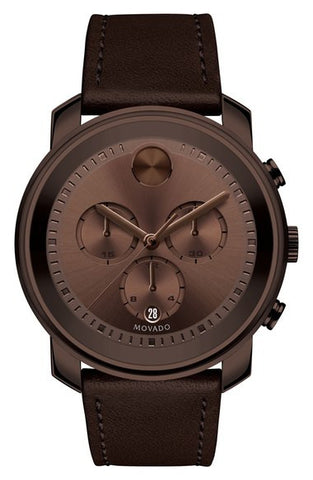 'Bold' Chronograph Leather Strap Watch, 44mm