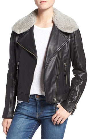 Asymmetrical Zip Leather Jacket with Genuine Shearling