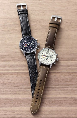 'Hawker Hurricane' Chronograph Leather Strap Watch, 42mm