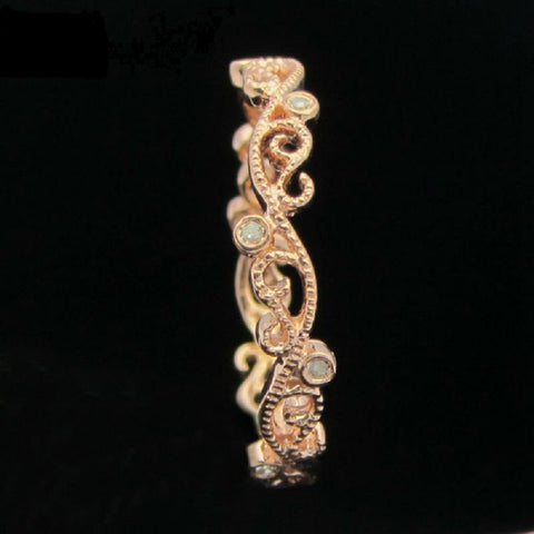 14kt Rose Gold Filigree Eternity Band  with Natural Diamonds