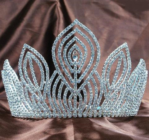 "5.25"" Handmade Clear Rhinestones Tiara Crown"
