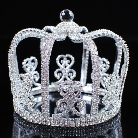 Men's Clear Rhinestone Tall Round Crown
