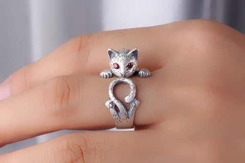 Retro Style Kitty Cat 925 Sterling Silver Ladies`Adjustable Ring