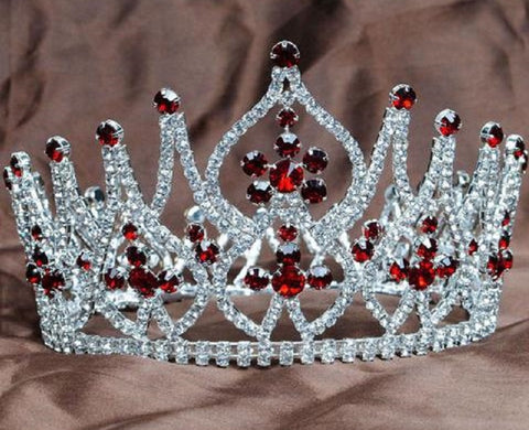 Crystals and Red Rhinestones Full Round Tiara Crown