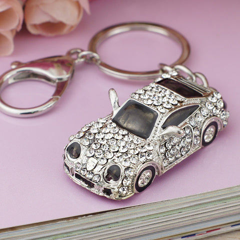 Rhinestone Sports Car Key Chain or Purse Pendant