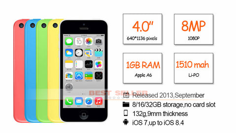 "Unlocked Apple iPhone 5C Cellphone 4.0"" Dual Core 8MP Camera IOS WIFI GPS Used"