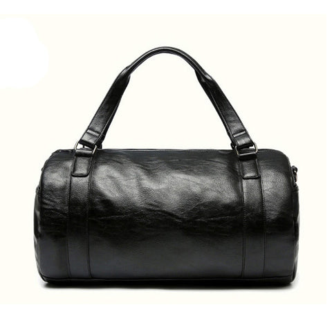 Contact Men's Leather Duffel Travel Bag with Shoulder Strap
