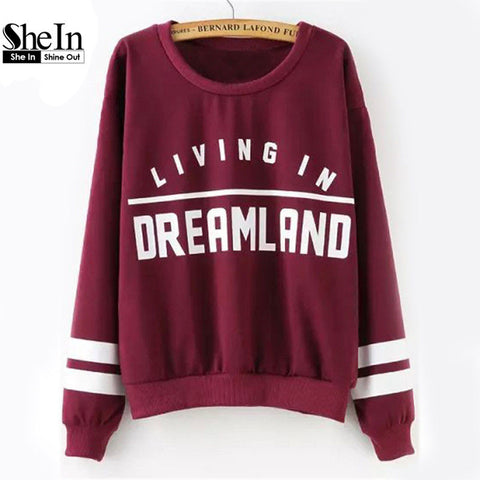 Streetwear Long Sleeve Wine Red Print Women's Sweatshirt