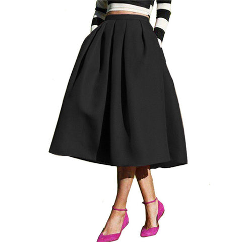 Solid Casual Flare High Waist Pleated Pockets Vintage Midi Skirt