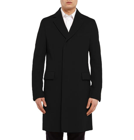 Long Single Breasted Men's Woolen Coat