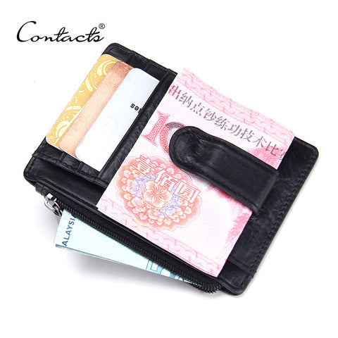 Men's Leather Money Clip with Coin Pouch