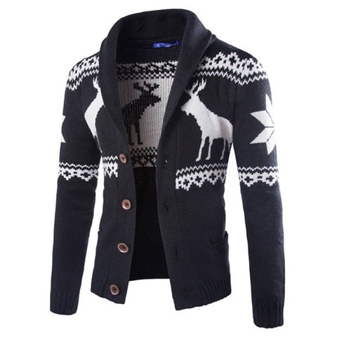 Casual Animal Print Button Down Men's Sweater