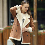 Faux Leather and Faux Fur Hooded Coat Short Front, Long Back
