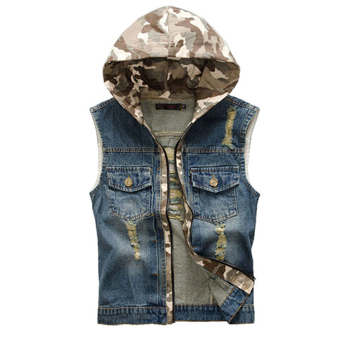 Denim Camouflage Patch and Trim Hooded Men's Vest